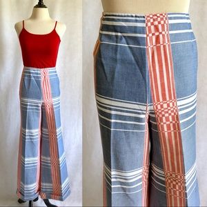 70s S Blue Red Cuffed Plaid Wide Leg Bell Bottoms